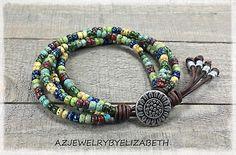 Seed Bead Leather Wrap Bracelet/ Sunflower Bracelet/ Beaded