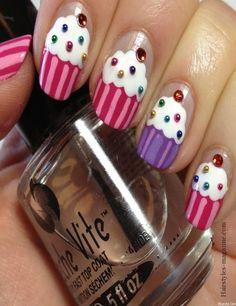Be Sweet - Cupcakes Nails Get Nails, Fancy Nails, Love Nails, Hair And Nails, Spring Nail Art, Spring Nails, Gorgeous Nails, Pretty Nails, Amazing Nails