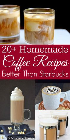 Homemade Coffee Drinks - Retro Housewife Goes Green - Love coffee? You need to try these homemade coffee recipes. They are delicious and dare I say it? Better than Starbucks! Everything from homemade pumpkin spice latte to homemade vanilla lattes. Coffee Drink Recipes, Starbucks Recipes, Starbucks Drinks, Keurig Recipes, Tea Recipes, Ninja Coffee Bar Recipes, Cold Coffee Drinks, Nespresso Recipes, Cold Brew Coffee Recipe