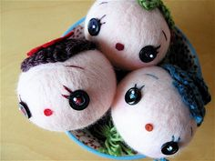 felted doll heads