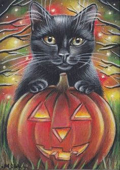 Black Cat Portrait Halloween Art Painting #Realism