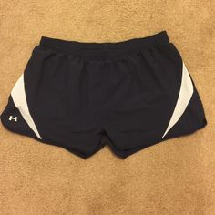 Navy blue track shorts Navy blue with white designs Under Armour Shorts
