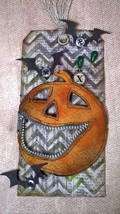 that crazy chick: No. Fabric Medium mixed with distress re-inkers make a great colourfast textile paint that remains translucent; you can still see the eclectic elements pattern though the stenciling Halloween Paper Crafts, Halloween Tags, Holidays Halloween, Halloween 2020, Halloween Ideas, Atc Cards, Card Tags, Gift Tags, Halloween Scrapbook