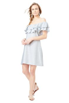 a70074b4a28 Washed Pinstripe Selina Dress Off The Shoulder