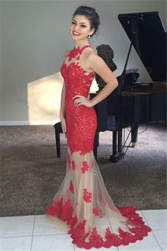 -Elegant Red Mermaid Lace Appliques Prom Dresses Sweep Train Evening Gowns shedress.storenvy.com