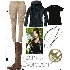 """and Place to Lara Croft -----""""Katniss Everdeen (Jennifer Lawrence) inspired outfit from The Hunger Games Hunger Games Outfits, Fandom Outfits, Tomboy Outfits, Tomboy Fashion, Casual Outfits, Cute Outfits, Fashion Outfits, Fasion, Women's Fashion"""