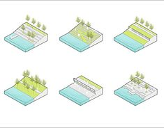 Axonometric Diagrams for Landscape Design in Sketchup and Photoshop Concept Board Architecture, Architecture Portfolio Layout, Landscape Architecture Drawing, Landscape And Urbanism, Architecture Graphics, Landscape Drawings, Urban Landscape, Landscape Design, Architecture Diagrams
