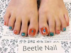 Nail Art - Beetle Nail : 八日市arte|テラコッタ×ターコイズ   #ネイル #アルテビートルネイル #ビートルネイル #ネイル東近江市