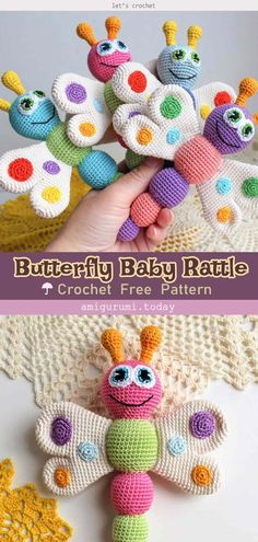 Butterfly baby rattle Free Crochet Pattern This cute Amigurumi Butterflies Free Crochet Pattern is a very vibrant and pretty decoration for your home! Make one now with the free pattern provided below. Crochet Butterfly Free Pattern, Crochet Animal Patterns, Crochet Patterns Amigurumi, Baby Patterns, Free Crochet, African Flower Crochet Animals, Crocheted Animals, Knitting Patterns, Crochet Crafts