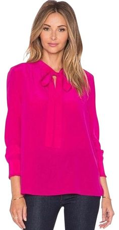 Hot Pink Tops, Bow Blouse, Revolve Clothing, Beautiful Outfits, Kate Spade, Tunic Tops, Long Sleeve, How To Wear, York
