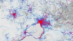 Popular cycling routes show up as bright red on Strava's heat map.