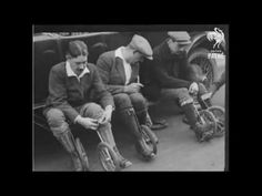 Cycle-Skating - The New Sport of 1923. The precursor to rolling blading. Men in Paris enjoy this new sport.