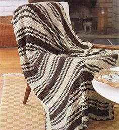 Ravelry: Striped Two-Color Crocheted Afghan pattern by Lion Brand Yarn