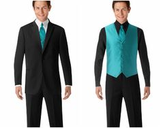 Blue. Blue. Blue. Groom with a bit different look. Groomsmen in vests. Sexy. (Men's Wearhouse)