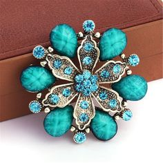 Antique Brass Green Rhinestone Crystal Pearls Flower Petals Leaves Brooches Pins Clips