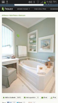 Traditional Bathroom Design, Pictures, Remodel, Decor and Ideas - page 10 Coastal Bathrooms, Beach Bathrooms, Coastal Living Rooms, Small Bathroom, Master Bathroom, Coastal Cottage, Bathroom Wall, Coastal Decor, Bathroom Furniture