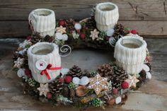 Az otthon melege - exkluzív adventi koszorú, Dekoráció, Otthon, lakberendezés, Ünnepi dekoráció, Gyertya, mécses, gyertyatartó, Szívet melengető igazi karácsonyi hangulatot árasztó adventi koszorú.  Egy vihar után a kertb..., Meska