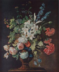 """""""Stillleben mit Lilien, Mohn und Rosen """" von Justus van Huysum"""