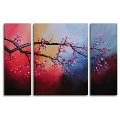 "My Art Outlet Hand Painted ""Cotton Candy Sky Blossom"" 3-Piece Canvas Art Set"