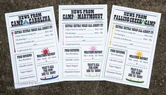camp news fill in the blank - add camp + camper's names