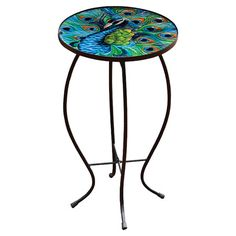 Add a splash of color to your living room decor with this bold side table, featuring a curved metal frame and peacock-printed glass top.