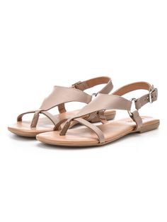 TRIANGLE STRAP SANDALS, Nougat, large