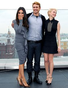 Actors Mila Kunis, James Franco and Michelle Williams during a photocall before Walt Disney Pictures Moscow premiere of 'Oz The Great And Powerful' at the roof of Ritz hotel on February 27, 2013 in Moscow, Russia.