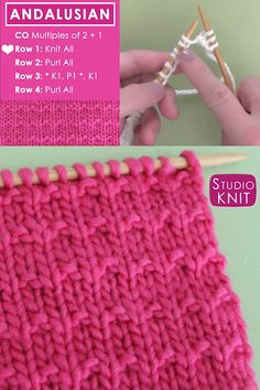 Knit a Blanket in the easy Andalusian Stitch Pattern. My video shows exactly how those knits and purls are knitted together to make this simple pattern. strickmuster stricken videos Easy Knit Blanket with Andalusian Knit Stitch Pattern Knitting Stiches, Easy Knitting Patterns, Knitting Videos, Knitting For Beginners, Crochet Stitches, Crochet Patterns, Knit Crochet, Knitting Tutorials, Free Crochet