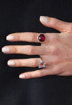 Turns out George Clooney wasn't destined to be a bachelor. Just look at that whopper he gave Amal. Celebrity Wedding Rings, Celebrity Weddings, Diamond Rings, Gemstone Rings, Engagement Celebration, Red Gemstones, Most Expensive, George Clooney, Stacking Rings