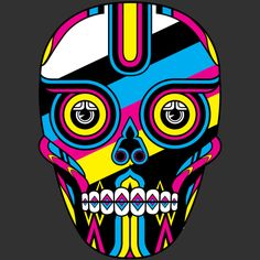 colours skull t shirt design