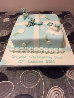 Rainbow bear christening cake