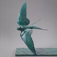 Flying Swallow - A Beautiful Ltd. Edition Bronze Bird Sculpture of a life-size Flying Swallow, by acclaimed wildlife sculptor, Nick Bibby Sculptures Céramiques, Bird Sculpture, Bronze Sculpture, Bird Statues, Young Animal, Devon, Wildlife Art, Bird Art, Sculpting