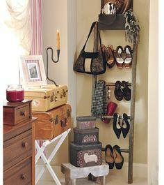 vintage ladder as shoe rack