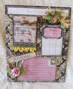 easy to do vintage shabby journal books and pages | Smash Book Pages For Euroalien/Yvonne