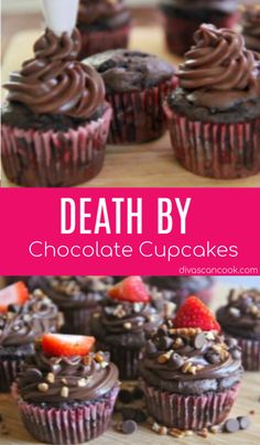 Super easy death by chocolate cupcakes recipe! Full of chocolate and topped with silky chocolate sour cream frosting. Death By Chocolate Cupcake Recipe, Hot Chocolate Fudge, Chocolate Cake Mixes, Chocolate Cupcakes, Chocolate Lovers, Mocha Cupcakes, Strawberry Cupcakes, Velvet Cupcakes, Vanilla Cupcakes