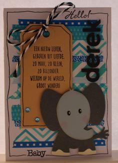 Gemaakt door Joke # Geboortekaartje met olifantje, Derek geboren