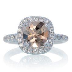 Morganite Cushion Halo Diamond Engagement Ring