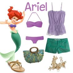 Perfect Ariel outfit for the pool, maybe even with a green maxi skirt cover-up for walking around! Y'know, to go full on Ariel!