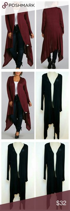 """""""Thea"""" ☆Plus Size☆ Maxi Cardigan (RESTOCKED) Stylish long body cardigan,  open front with loose fit styling, long sleeves, hi-low hemline.  Pair with jeans  or leggings for a cute casual look. Customer Favorite!  Color: AVAILABLE IN """"BLACK"""" ONLY Burgundy sold out  Material: 96% rayon, 4% spandex  Measurements: Model 40"""" B, 33"""" W,  5'7"""" 1X: 24"""" armpit-armpit, 53"""" length  2X: 25"""" armpit-armpit, 53"""" length  3X : 26"""" armpit-armpit, 53"""" length   Bundle & Save 15% Wild Plum  Sweaters Cardigans"""