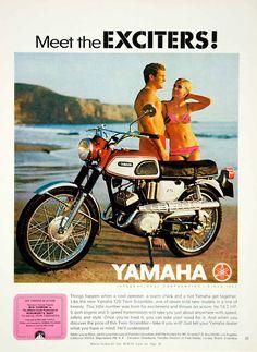 1968 Ad Vintage Yamaha 125 Twin Scrambler Motorcycle Girl Bikini Beach YMMA3