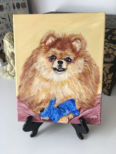 Pomeranian custom hand painted portrait pom puppy toy dog breed gift for dog lover small dog picture dog memorial pet painting groomer by MoonbeamsBearDreams on Etsy