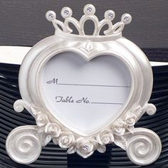 Heart Shaped Wedding Coach Place Card Frame from Wedding Favors Unlimited