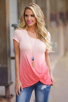 Knotty By Nature Top - Coral from Closet Candy Boutique