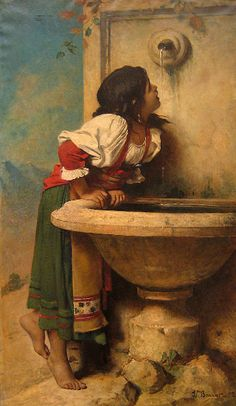Leon Bonnat - Roman Girl At A Fountain      Leon Bonnat (1833 – 1922, French)