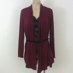 AGB Medium Burgundy Black Layer Top PM200 Velvet skinny mini belt is removable. Burgundy shrug with attached black metallic style shimmer insert with a cowl neck. AGB Tops Blouses