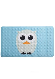 Wing and Shout Bath Mat by Kikkerland - Owls, Blue, Grey, White, Orange, Black, Print with Animals, Kawaii, Pastel, Top Rated