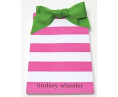 Personalized Bow Pads | Shocking Pink Stripes Personalized Bow Pad | Lemon Tree Paperie