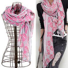 Skull Print Shawl Scarf - Pink/Grey $29.00
