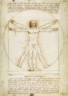 Bild: Leonardo da Vinci - Vitruvmann (Proportionszeichnung - Schema delle proporzioni)