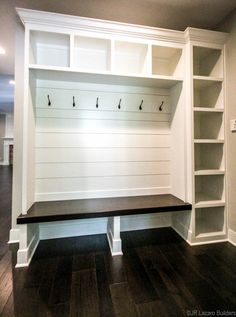 Mudroom Ideas - built in storage in mudroom, lockers in mudroom with shiplap and. Mudroom Ideas - built in storage in mudroom, lockers in mudroom with shiplap and custom lockers with bench in mudroom decor Home Renovation, Home Remodeling, Farmhouse Renovation, Kitchen Remodeling, Armoire Entree, Mudroom Laundry Room, Mud Room Lockers, Entry Lockers, Built In Lockers